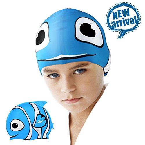 Kinder Badekappe, ZIONOR Manatee C1 Premium Silikon Badekappen für langes Haar mit Ohrabdeckung für Junior Kinder Mädchen Jungen Schwimmen Hut