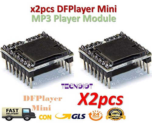 2pcs DFPlayer Mini MP3 Player Module MP3 Voice Module TF Card and USB Disk |2 unidades DFPlayer Mini reproductor de MP3 Módulo MP3 Módulo de voz Tarjeta TF y disco USB -