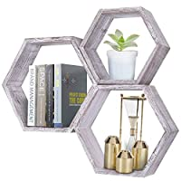 Rustic White Wall Mounted Hexagonal Floating Shelves - Set of 3 - Large, Medium and Small - Screws and Anchors Included - Farmhouse Shelves for Bedroom, Living Room and more - Honeycomb Wall Décor