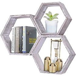 Tablettes murales rustiques hexagonales flottantes - Lot de 3 - Grandes, moyennes et petites - Vis et ancrages inclus - Tablettes pour chambre à coucher, salon et plus - Décor mural en nid d'abeille