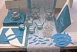 IHR Tischdekoration Kommunion/Konfirmation für 20 Personen Blau/Türkis Fische