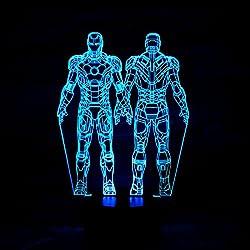Sweetcreature dos de pie de hierro hombre superhéroe lámpara 3D LED para mesa de escritorio Star War soldados clon noche luz 7 cambio de color iluminación lámparas regalo hogar decoración hogar accesorios