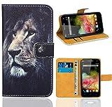 FoneExpert Wiko Rainbow 3G / 4G Housse Coque, Etui Housse Coque en Cuir Portefeuille Wallet Case Cover pour Wiko Rainbow 3G / 4G