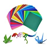 Jingxu 200 Blatt Origami Papier Craft Paper 50 Verschiedene Farben Origamipapier Zweiseitig Faltpapier mit 100 Stück Augen für Kinder 15x15