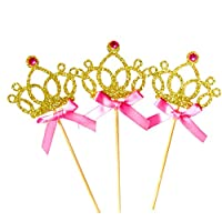 JasmineLi Creative Glitter Crown Bowknot Cupcake Toppers Cake Decoration Supplies Golden/Silver - 10 Pcs/pack