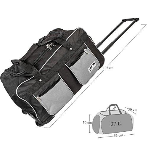 Trolley Reise-Tasche fürs Handgepäck Sportliches Design ca. 37 Liter Sporttasche mit Teleskopgriff (Lila) Grau