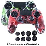Silicona Fundas para PS4 Controller - Anti-deslizamiento Piels para Sony PS4/SLIM/PRO Mando - 2 x PS4 fundas protectores+8 x Pulgar Agarre Thumb Grips - Camuflaje Verde&Camuflaje Rojo