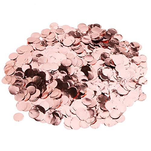 5Packungen Pop Rose Gold Konfetti, rund Pailletten Table Flower Ballon Klassenzimmer Tisch Party Dekorationen Konfetti Sprinkle, für Hochzeit Urlaub Jahrestag Geburtstag, 2,5cm