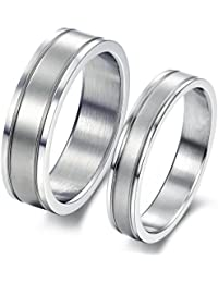 bigsoho Classic Simple Silver Titanium Stainless Steel Women Men Wedding Lover Couple Ring Size J 1/2,L 1/2,N 1/2,P 1/2,R 1/2,T 1/2
