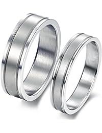 ILOVE EU Conjunto de 2 alianzas de acero inoxidable en plata mate, cepilladas, para