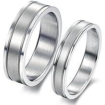 iLove EU - Conjunto de 2 alianzas de acero inoxidable en plata mate, cepilladas, para día de San Valentín, parejas, compromiso, boda, matrimonio. Para hombre y mujer