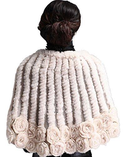 queenshiny Femmes mode 100% Véritable lapin Rex fleur écharpe de fourrure Cape Poncho Etoles Cap d'hiver Beige