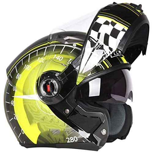 Caschi Moto Flip Up Modulari Cascos Capacetes De Motociclista Dual Visors Touring Helmets Yellow Speed up M