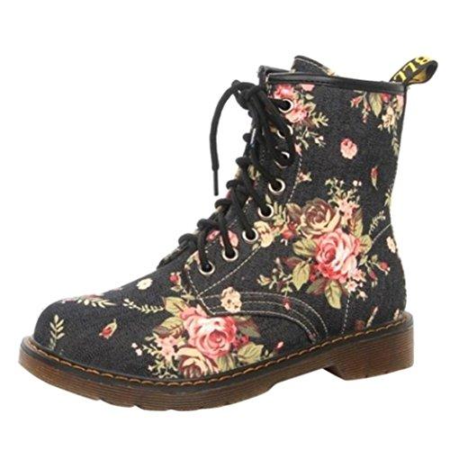 Tatis Mode Frauen weichen Boden Lace-up Floral Blume Martin Stiefel Frye Harness Boot (EU Size:39, Schwarz) (Shorts Nylon Floral)