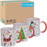 Matches21 - Tazze da caffè natalizie in ceramica, 36 pezzi per confezione, 10 cm