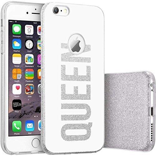 finoo | iPhone SE Silberne bedruckte Rundum 3 in 1 Glitzer Bling Bling Handy-Hülle | Silikon Schutz-hülle + Glitzer + PP Hülle | Weicher TPU Bumper Case Cover | Pusteblume Queen White