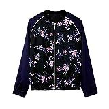 VENMO Frauen Langarm Zip Up Blumendruck Casual Baseball Bomberjacke Mantel Frühling Blouson Mode Floral Baseball Tops Coat Bikerjacke Reißverschluss Fliegerjacke Kurzjacke Zip Mantel (XL, Blue)