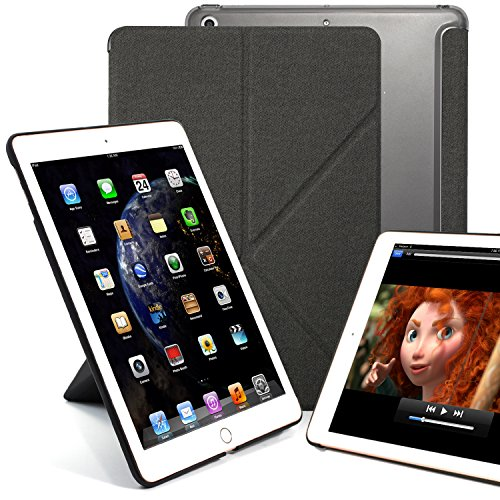 KHOMO Schutzhülle für iPad 24,6 cm (2017 & 2018), transparent, Rückseite - DUAL Origami Hybrid-Serie - horizontales und vertikales Display grau iPad 9.7 Inch (2017 & 2018) -