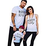Oyedens Familien Outfit Mutter Vater Kind Kleidung Freizeit Baumwolle Kurzarm Outfits Eltern Kind Matching T-Shirts Tops Papa und Sohn Mama und Tochter Sommer Drucken T-Shirt