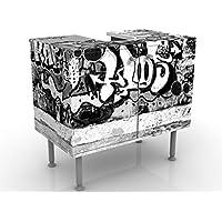 Meuble sous Vasque Design Graffiti Art 60x55x35cm, Petit, 60 cm de Large, réglable, Table de lavabo, Armoire de lavabo…