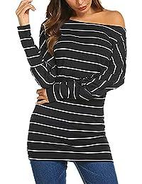 MYMYG Damen Oberteile Striped O-Ausschnitt Loose Fit Jumper Lose Tunika Top Frauen Herbst lose Long Sleeve Lange beiläufige T-Shirt Bluse Tops Langarmshirt Pulli Shirt