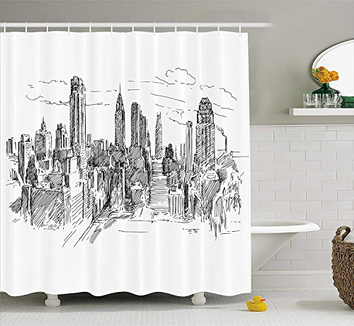 New York Shower Curtain, Hand Drawn NYC Cityscape Tourism Travel Industrial Center Town Modern City Design, Fabric Bathroom Decor Set with Hooks, Black White,Size:72W X 72L Inche Cute Button Center