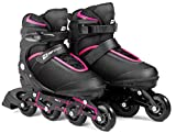 HS HOP-SPORT Hop-Sport 3in1 Inliner Inlineskates/Roller/Triskates für Damenr/Verstellbar/Farbe: Schwarz-Pink - M 35-38