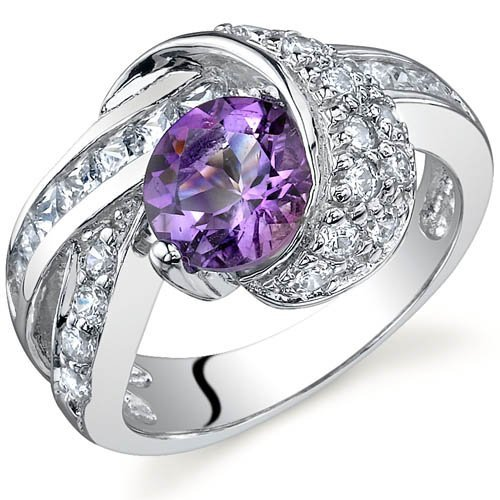 Peora Damen -  925 Sterling-Silber  Silber Rundschliff   Violett Oxyde de Zirconium Améthyste - Kleid Valentinstag-formale