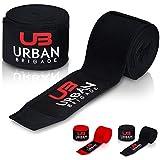 Boxbandagen von Urban Brigade (4m) - Halb-Elastische Bandagen mit Daumenschlaufe und breitem Klettverschluss - Inklusive Stofftasche (Schwarz)
