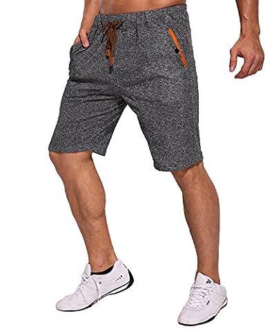 MODCHOK Homme Shorts Bermuda Pantacourt Jogging Sport Poches Casual Taille Élastique (XXXL, Noir 2)