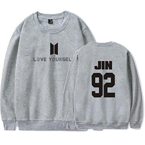 SIMYJOY Amants KPOP Sweat BTS Love Yourself Sweat Collège Hip Hop Pulls Pour Hommes Femmes Adolescents gris Jin 92