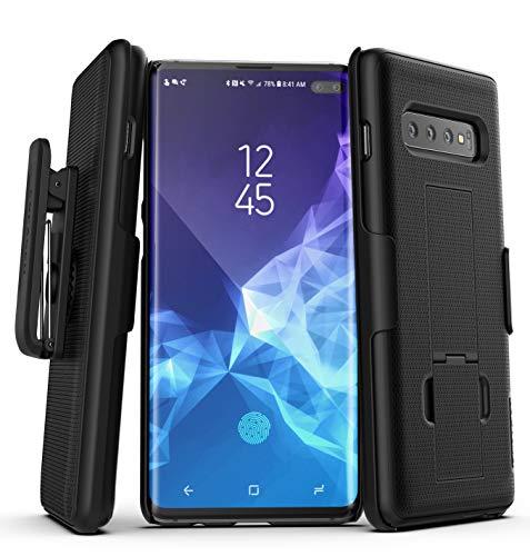 Encased Samsung Galaxy S10 Plus Schutzhülle mit Gürtelclip - schlanke Handyhülle für den Gürtel - antirutsch Case (gummiert) - Hard Cover Hülle für Galaxy S10 Plus- Belt Clip schwarz Clip Hard Case Cover