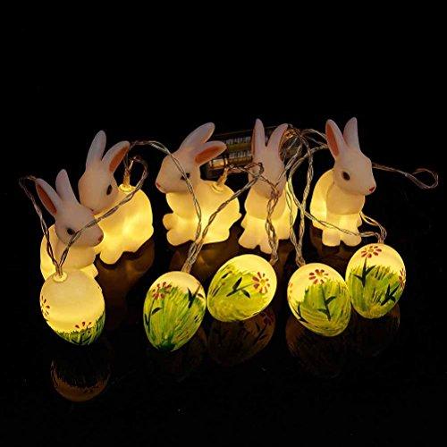 LEDMOMO Osterei Osterhase LED Nachtlicht 10 LED Batteriebetriebene Ostern Hase und Ei Form Lichterketten dekorative Lichter (Warmweiß)