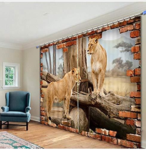 ZKSB 3D-Fenster Vorhänge mit Animal Leopard Print für Wohnzimmer Schlafzimmer Vorhänge für Kinder-H215 X W220Cm-H240 X W265cm
