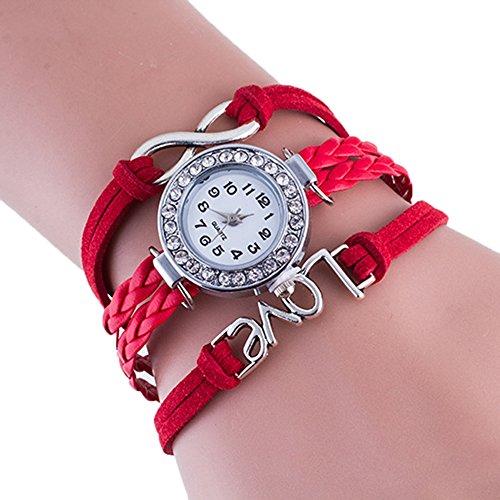 SSITG Damenuhr Infinity Love Hand-gestrickt Leder Kette Quarz Armbanduhr