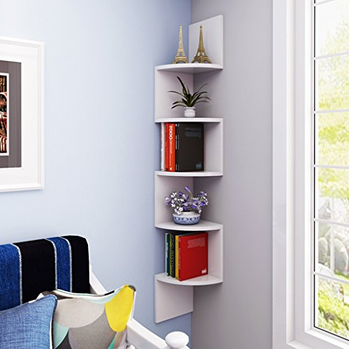 Best Shelves- 5 Tiers Wand Eckregal Floating Organizer Wand Montiert Display Speichereinheit H115.5cm Home Rack (Farbe : Weiß)