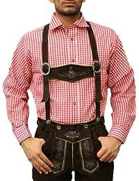 Trachtenhemd für Oktoberfest trachten lederhosen wiesn Hemd rot/kariert 100% Baumwolle