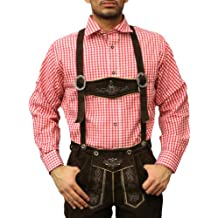 Checkered Traditional Bavarian Shirt for lederhosen/Oktoberfest Red, Size:L (disfraz)