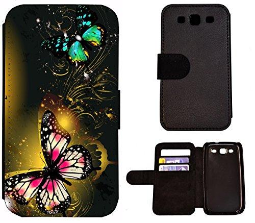 Flip Cover Schutz Hülle Handy Tasche Etui Case für (Apple iPhone 4 / 4s, 1460 Wolf Weiß Böse) 1464 Schmetterling Pink Schwarz Grün