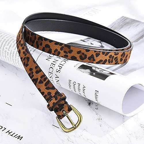 FGLJHMNB Material De Hebilla De Pasador De Aleación De Cinturón Delgado De Leopardo De Mujer con Jeans Delgados