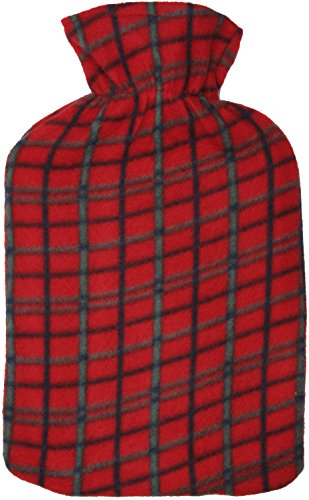 2 Litre Hot Water Bottle with Tartan Fleece Cover Red by KS Brands -