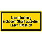 Warnzeichen - Laserstrahlung nicht dem Strahl aussetzen Laser Klasse 3B - 51 x 25 mm - 100 Warnschilder aus Vinyl Folie, gelb, permanent haftend