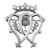 L'argent a plaqué l'amour traditionnel de Luckenbooth et le coeur de la fidélité deux a entrelacé la broche avec une fleur écossaise de chardon de l'Ecosse