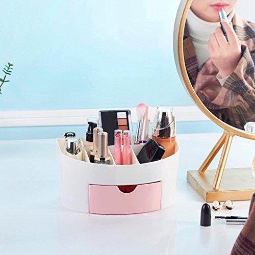 erthome Einsparung Space Schublade Typ Make-up Kit Desktop Kosmetik Organizer Aufbewahrungs box (22*14*11 cm, Rosa)