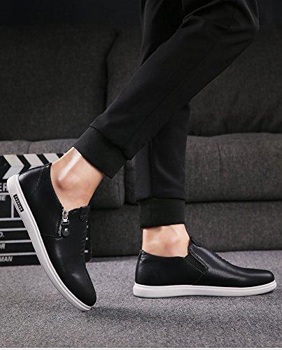 Sneaker Bequeme Reißverschluss Slip-On Low-Top Flach Freizeit Turnschuhe Für Männer Schwarz