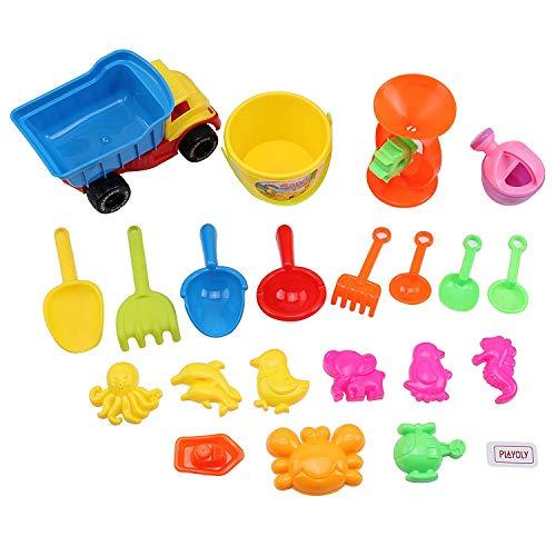 NIWWIN 21 stück Strand Sand Spielzeug Set Kinder Spielzeug gehören LKW, sandkasten Eimer Tier Formen (21 stücke)