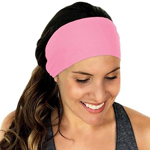 Stirnbänder, VENMO Frauen Sport Schweißband Yoga Gym Stretch Stirnband Handgemachte Halten Baumwolle Gemischt Tarnung Haarband Ladies Pure Farbe Stirnband Haarband 47X10.5cm ()