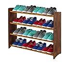 Schuhregal Schuhschrank Schuhe Schuhständer RBS-4-90 (Seiten dunkelbraun, Stangen in der Farbe erle)