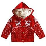 Funnycokid Bébés garçons filles Boutons de Noël à capuchon Cardigan à manches longues Elk motif Pull Tops