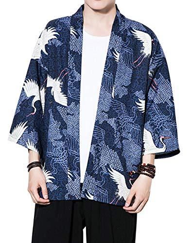 besbomig Sommerjacke Mantel Mode Japanische Haori Herren Oberbekleidung Strickjacke Kimono Jacket Lässige Hippie Kleidung, 3/4 Ärmel -